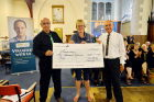 Gill Pipkin, Director of the Samaritans in Cornwall, recieves a cheque for £600.00